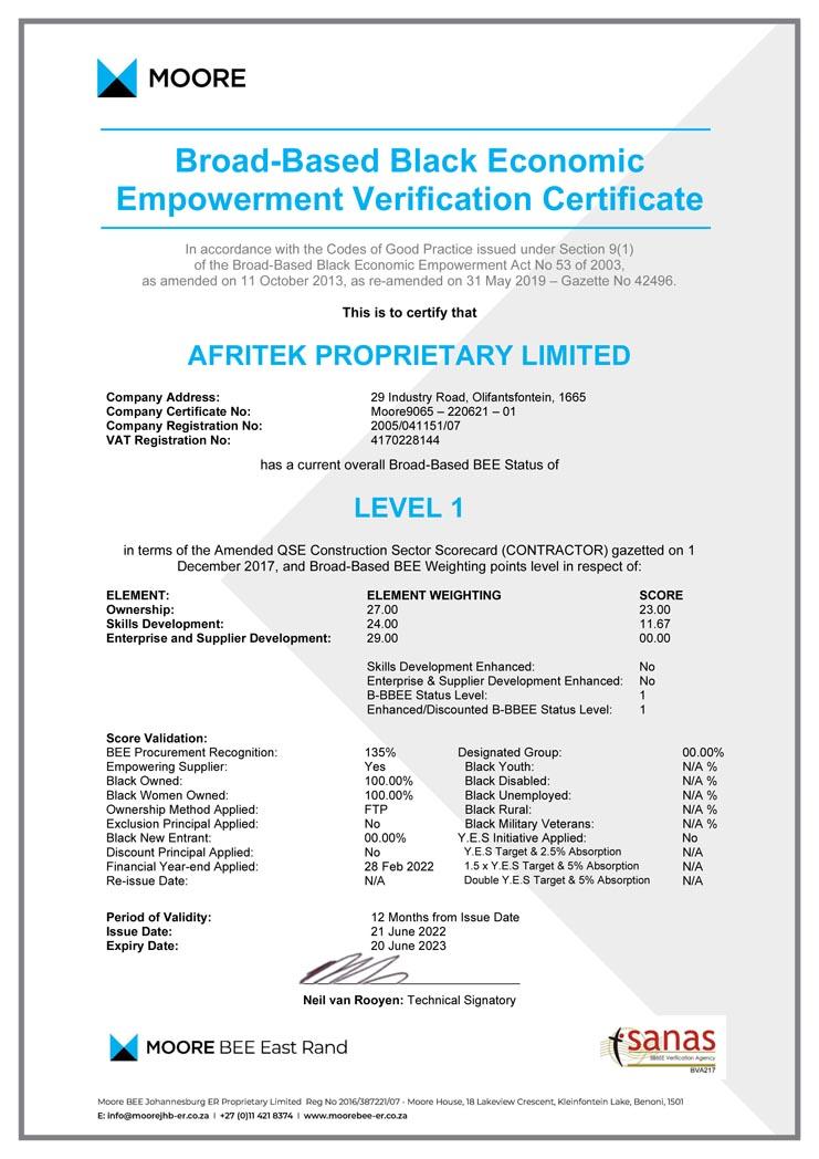 Afritek B-BBEE Certificate