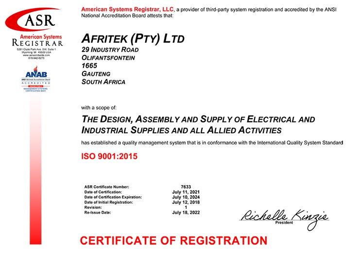 Afritek ISO 9001-2015 Certificate